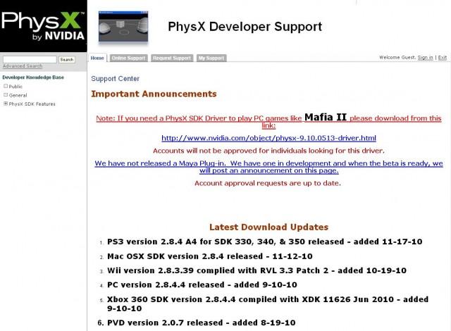 PhysX Developer Support